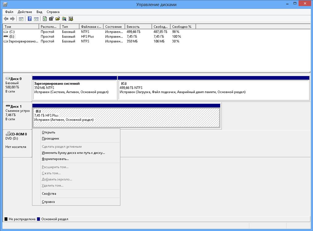 HFS+ диск в консоли «Управление дисками».