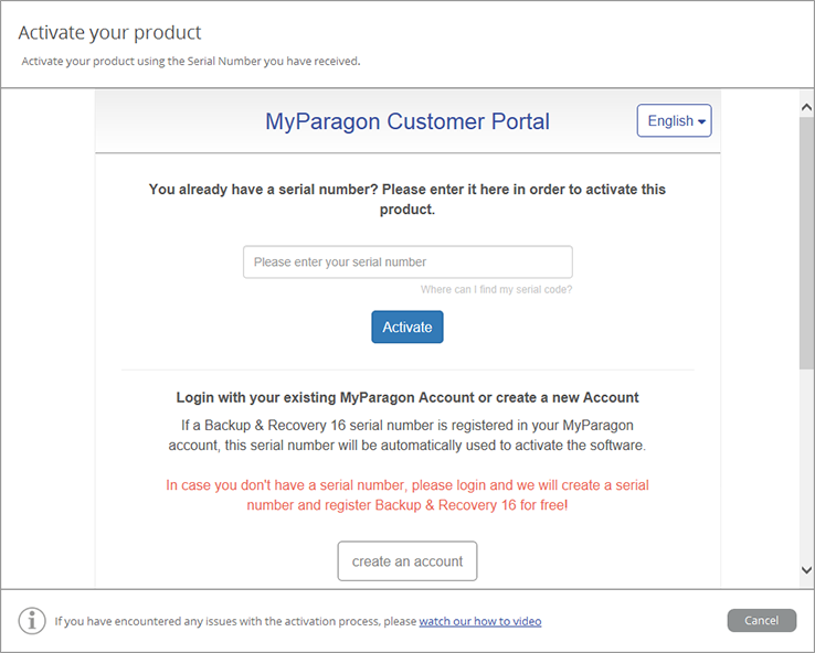 <b>Step 1:</b> Download and install the software! <b>Note:</b> After the installation you will be prompted to enter a serial number, or login via your MyParagon user account. You have also the possibility to create a new account in case you are not yet registered.