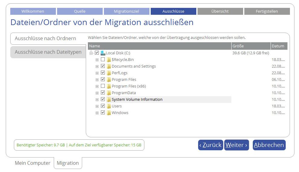 Wählen Sie Ordner oder Dateitypen, die Sie von der Migration ausschließen wollen