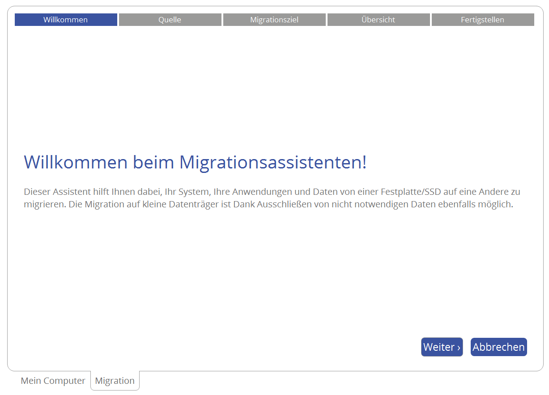 Der Migrationsassistent hilft Ihnen, Ihr System zuverlässig auf eine andere Festplatte/SSD zu migrieren