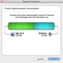 Mit Camptune X lässt sich freier Speicherplatz zwischen Mac OS X und Windows problemlos umverteilen.
