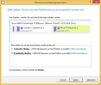 <b>Partition erstellen</b><br />Mit dem Partitions-Erstellungsassistenten legen Sie im Handumdrehen eine neue Partition in einem Bereich mit nicht‐partitioniertem Speicherplatz an. Bei der einfachen und schnellen Erstellung einer NTFS-Partition brauchen Sie nur die gewünschte Einstellung bezüglich des zu verwendenden Speicherplatzes selbst vorzunehmen.