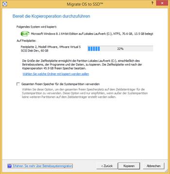 <b>Migrate OS to SSD</b><br />Übertragen Sie Windows auf eine SSD: Mithilfe von Migrate OS to SSD migrieren Sie Ihr Windows-System schnell und sicher auf den neuen Datenträger. <br />Ist die SSD kleiner als Ihre Ursprungsfestplatte, erhalten Sie eine Meldung. Dann können Sie einzelne Dateien und Ordner vom Kopiervorgang ausschließen.