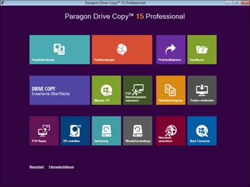 <b>Startfenster der WinPE-Rettungsumgebung</b><br />Mit dem bootfähigen Paragon Rettungs-Medium können Sie die Programmfunktionen von Drive Copy auch dann nutzen, wenn sich Windows nicht mehr starten lässt. Starten Sie Ihren PC über Ihren  zuvor erstellten