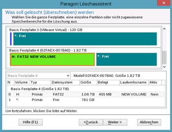 <b>Löschassistent</b><br />Löschen ist nicht gleich Löschen. Dieser Assistent hilft Ihnen beim Überschreiben von ganzen Festplatten, einzelnen Partitionen und freiem Speicherplatz, damit wichtige Daten nicht wiederhergestellt werden können. Nach Aktualisierung der Paragon-Löschtechnologie ist nun auch das zuverlässige, unwiederbringliche Löschen von Daten auf SSDs möglich.