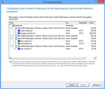 <b>P2V  (Physical to Virtual)- Kopierassistent</b><br />Der Assistent hilft Ihnen dabei, einzelne Partitionen oder gesamte Festplatten in eine virtuelle Maschine zu übertragen.