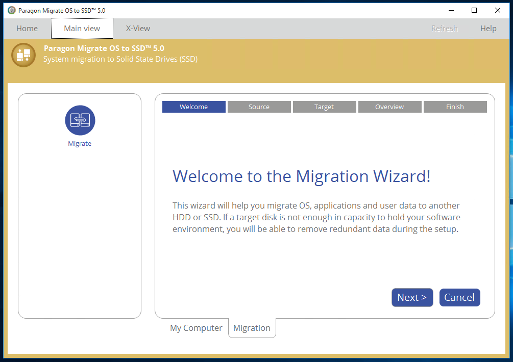Start screen of the Migration Wizard