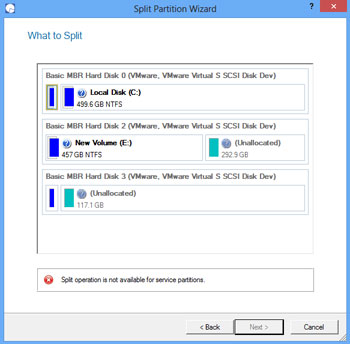 <b>Split Partition Wizard</b><br />This wizard helps you to split one partition to two different partitions of the same type and file system. If you'd like to separate OS and data or different types of data it's exactly what you need. The wizard offers much flexibility - you can select any files and/or folders you want to be on the new partition. Besides you've got the option to redistribute free space between the two partitions.