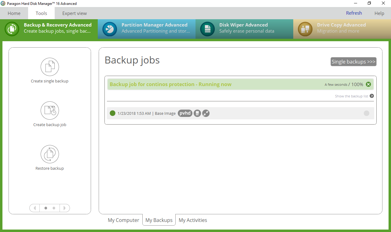 Screenshots of Backup & Recovery