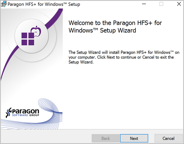 Paragon HFS+ for Windows welcome screen