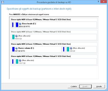 <b>Procedura guidata di backup su disco virtuale</b><br />La procedura guidata aiuta a eseguire il backup di un intero disco rigido, di una determinata partizione o di singoli file e cartelle in un contenitore disco virtuale.