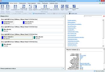 <b>Main Launcher</b> aiuta a eseguire procedure guidate e dialogs, specificare le impostazioni del programma, visualizzare l'ambiente operativo e la configurazione del disco rigido.