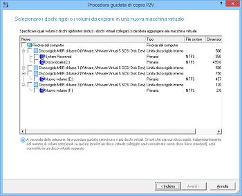 <b>Procedura guidata di copia P2V (da fisico a virtuale) </b><br/>La procedura guidata aiuta a copiare un intero disco rigido o singole unità in una nuova macchina virtuale.