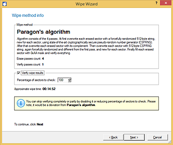 <b>Paragon's algorithm</b><br/>Four passes of overwriting with different wiping patterns