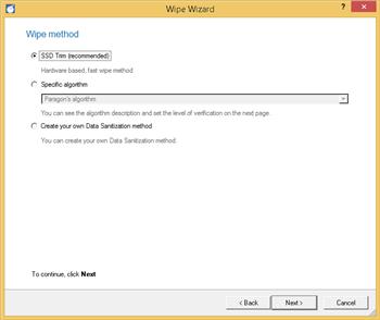 Wipe SSD - Choose wipe method