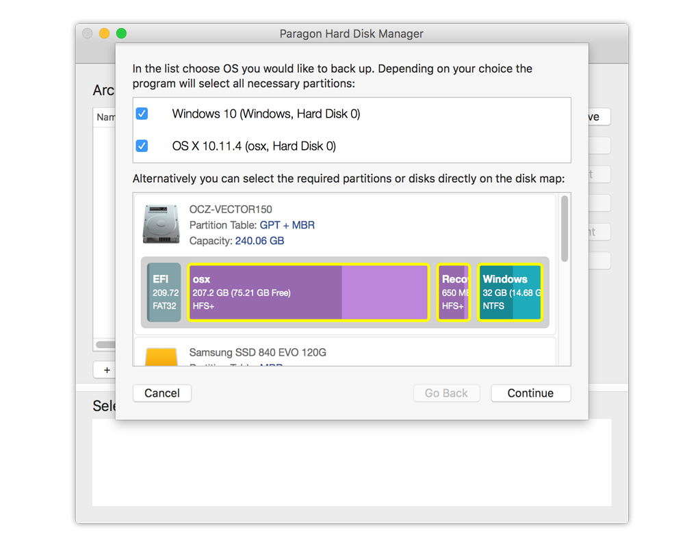 Sauvegardez des partitions OS X et Windows