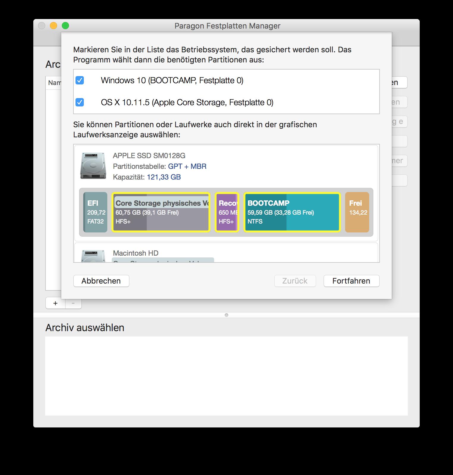 Backup von OS X und Windows-Partitionen