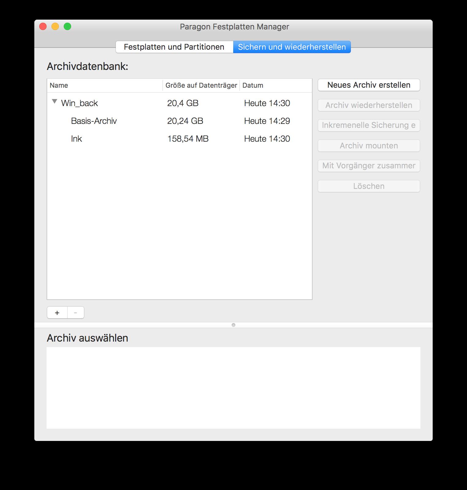 Archiv-Datenbanken sichern und wiederherstellen