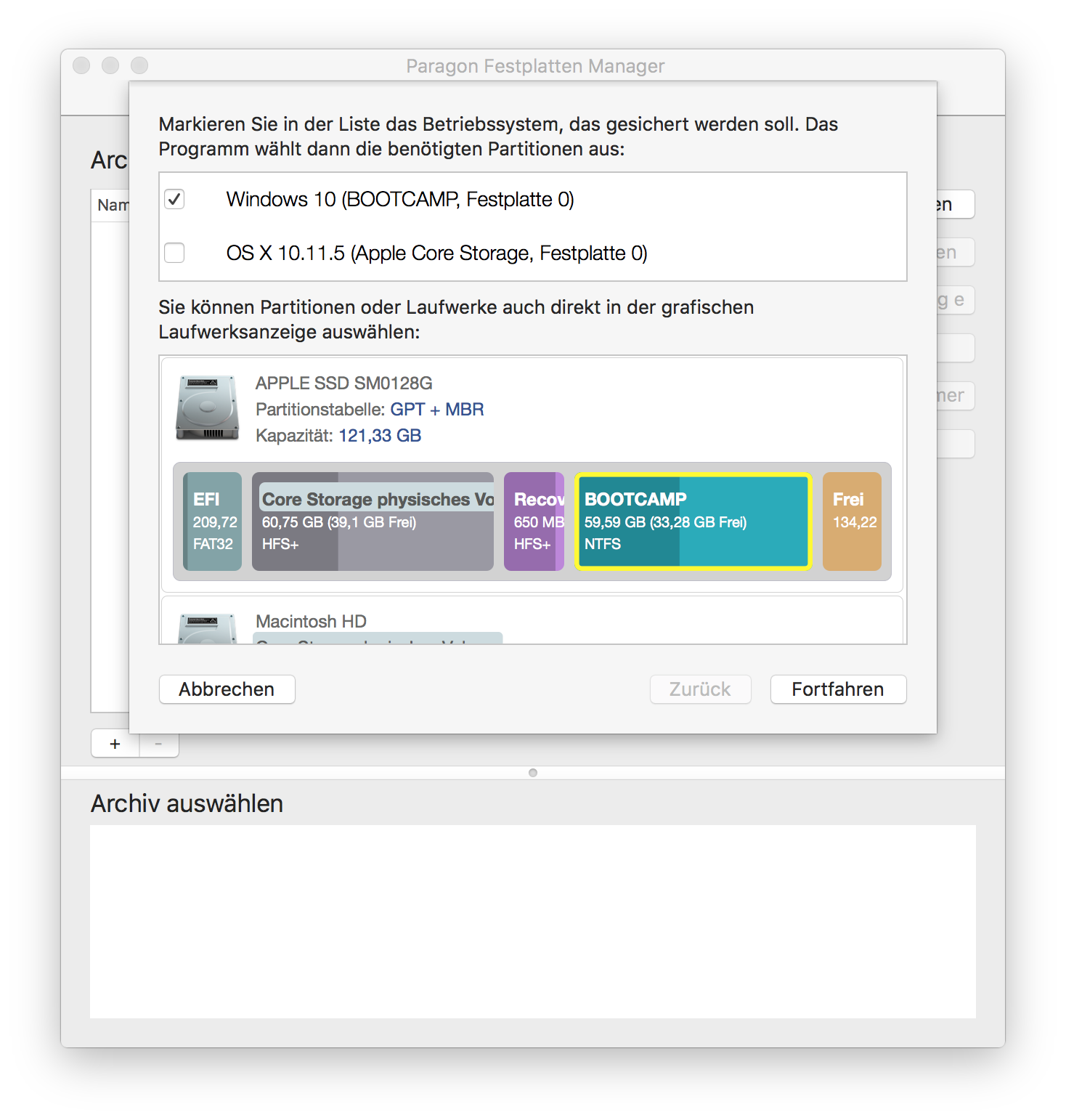 Mac-Partitionen für das Backup auswählen