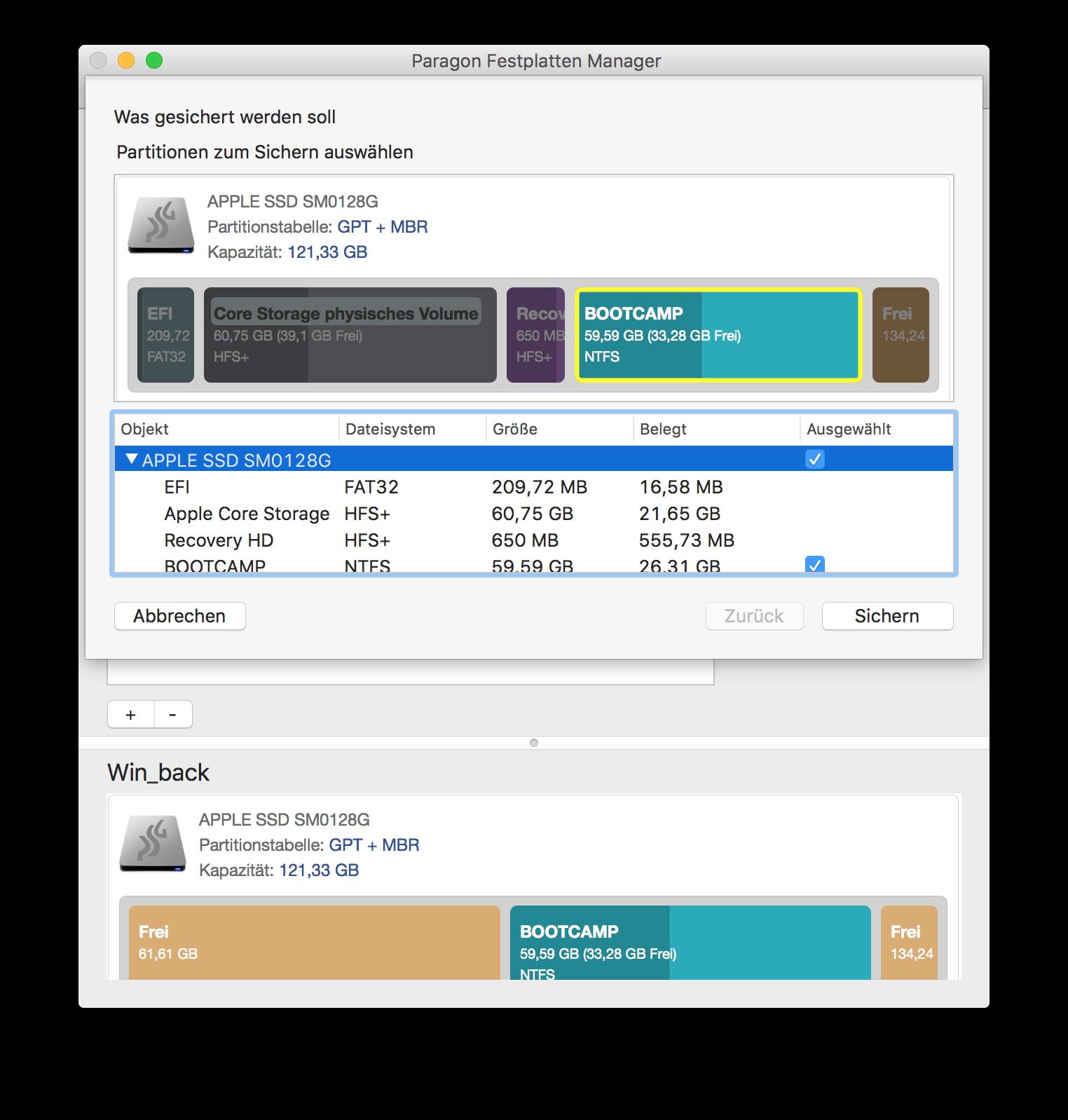 Mac-Partitionen für die Wiederherstellung auswählen