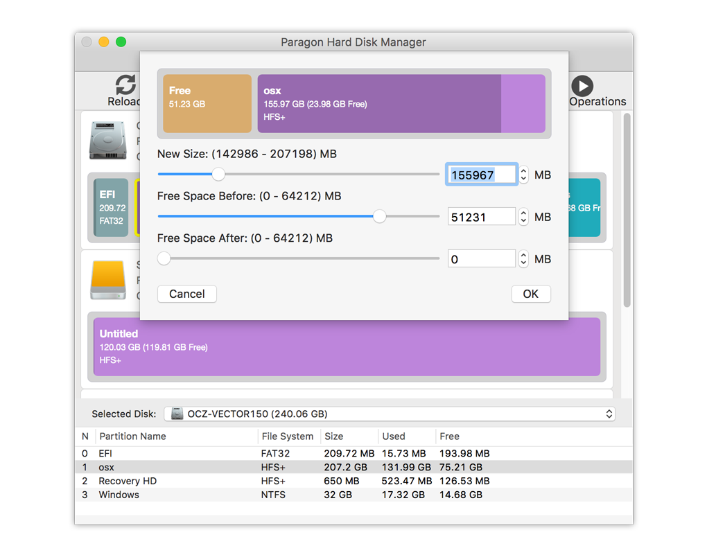 Free space redistribution among Mac partitions
